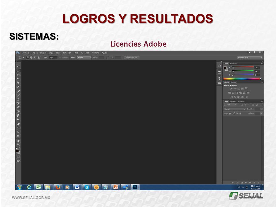 LOGROS Y RESULTADOS SISTEMAS: Licencias Adobe
