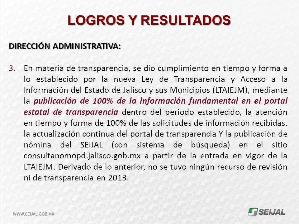 LOGROS Y RESULTADOS DIRECCIÓN ADMINISTRATIVA: 3.En materia de transparencia, se dio cumplimiento en tiempo y forma a lo establecido por la nueva Ley d