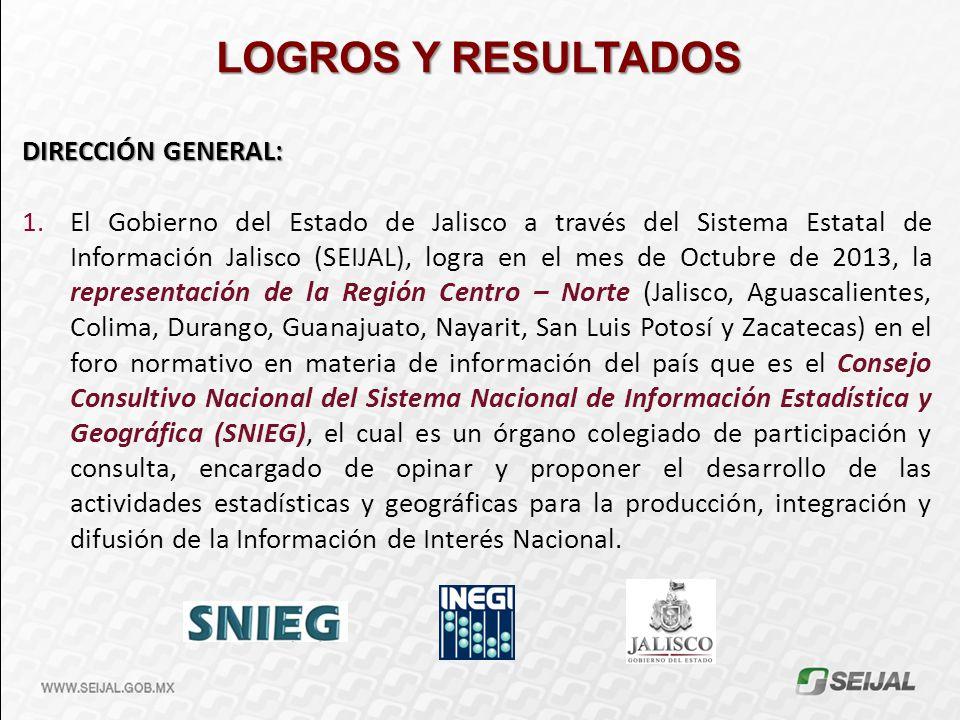 DIRECCIÓN GENERAL: 1.El Gobierno del Estado de Jalisco a través del Sistema Estatal de Información Jalisco (SEIJAL), logra en el mes de Octubre de 201