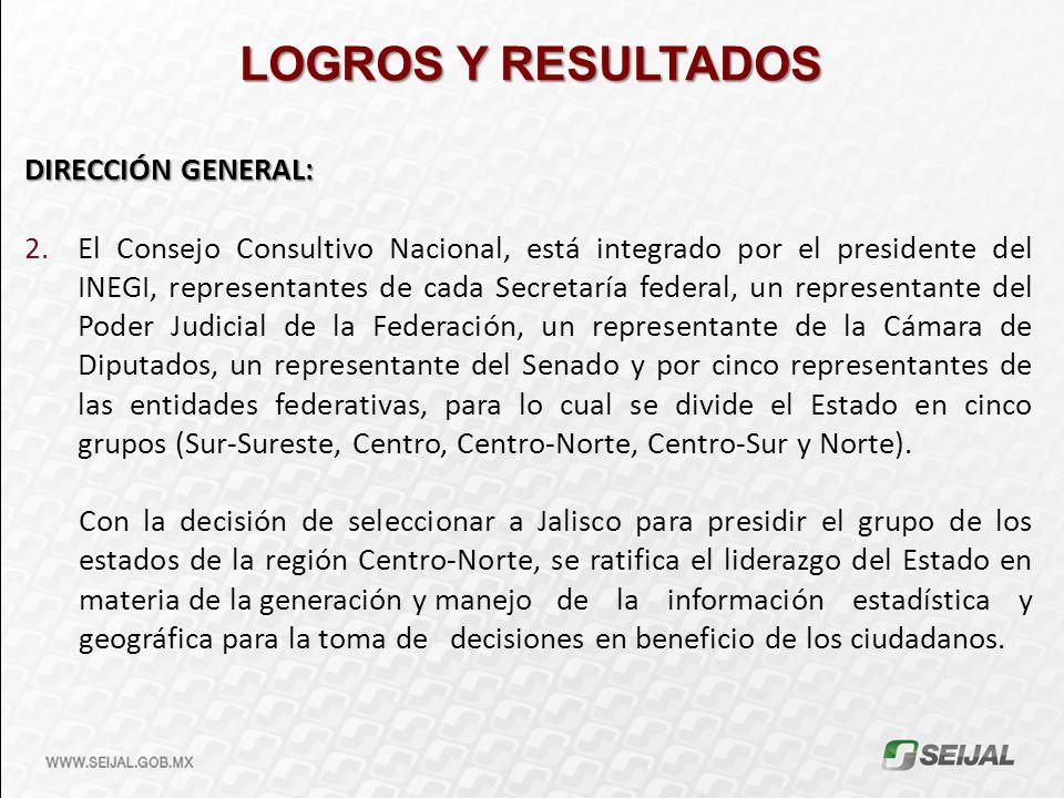 DIRECCIÓN GENERAL: 2.El Consejo Consultivo Nacional, está integrado por el presidente del INEGI, representantes de cada Secretaría federal, un represe
