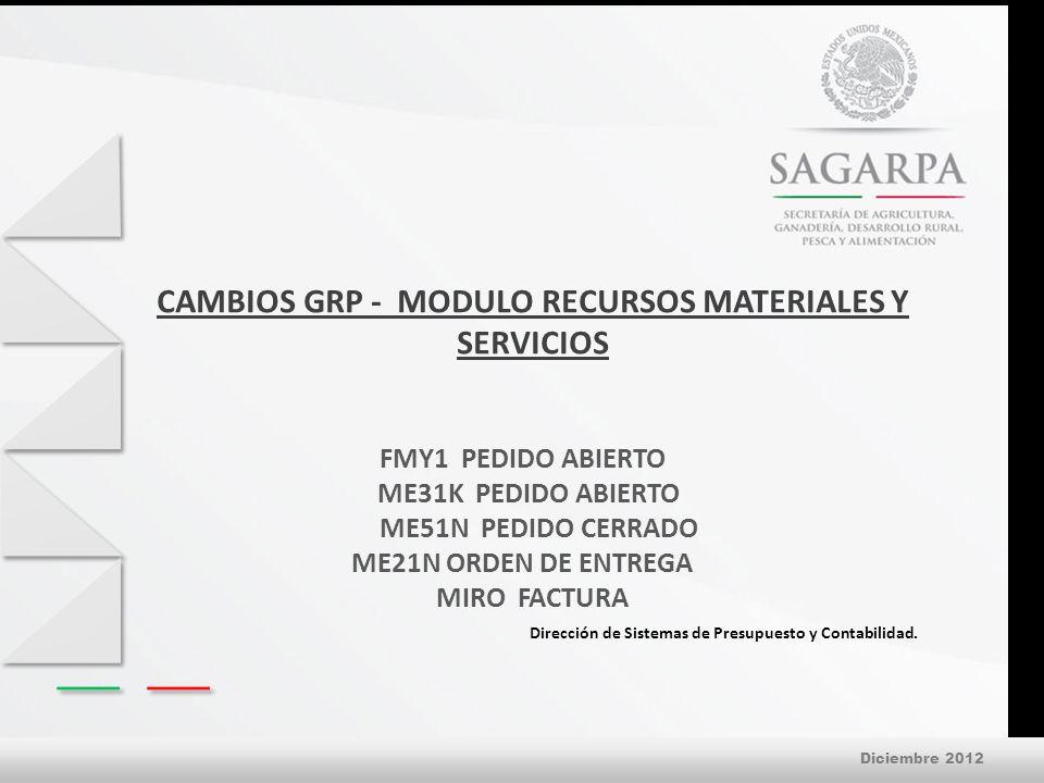 Diciembre 2012 CAMBIOS GRP - MODULO RECURSOS MATERIALES Y SERVICIOS Dirección de Sistemas de Presupuesto y Contabilidad.