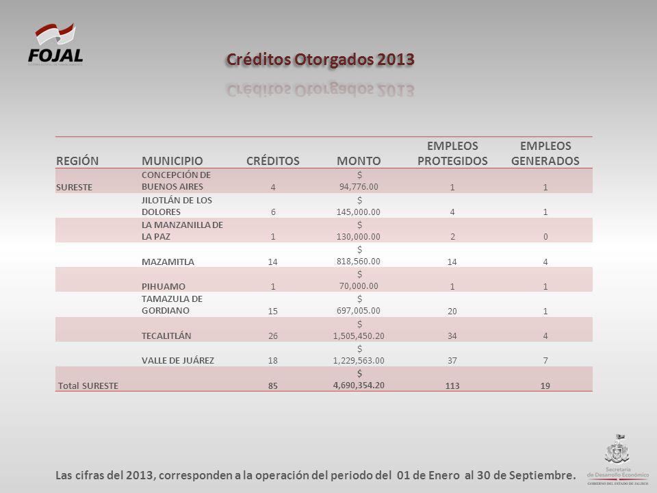 REGIÓNMUNICIPIOCRÉDITOSMONTO EMPLEOS PROTEGIDOS EMPLEOS GENERADOS SURESTE CONCEPCIÓN DE BUENOS AIRES4 $ 94,776.0011 JILOTLÁN DE LOS DOLORES6 $ 145,000