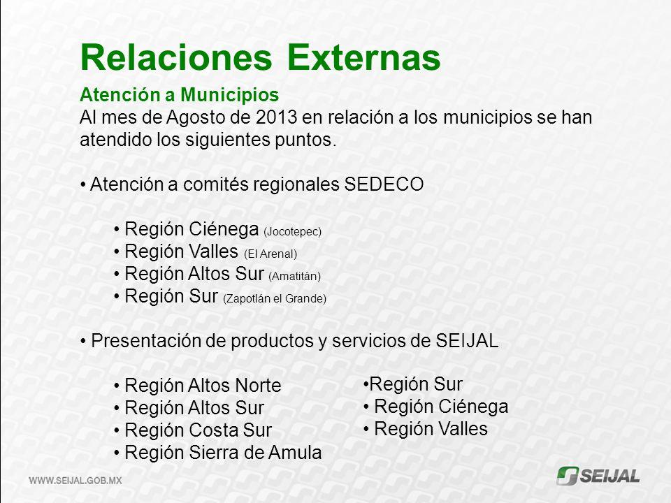 Atención a Municipios Al mes de Agosto de 2013 en relación a los municipios se han atendido los siguientes puntos.