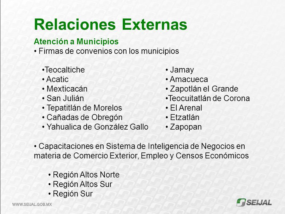 Relaciones Externas Atención a Municipios Firmas de convenios con los municipios Capacitaciones en Sistema de Inteligencia de Negocios en materia de C