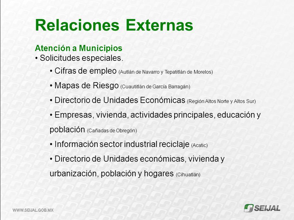 Atención a Municipios Solicitudes especiales. Cifras de empleo (Autlán de Navarro y Tepatitlán de Morelos) Mapas de Riesgo (Cuautitlán de García Barra