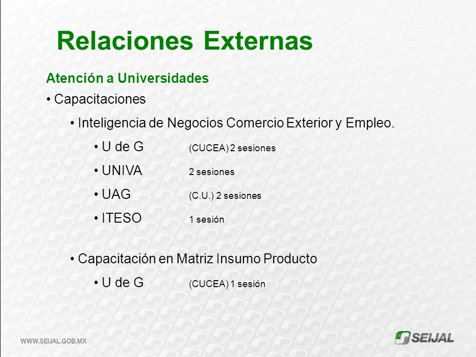 Atención a Universidades Capacitaciones Inteligencia de Negocios Comercio Exterior y Empleo. U de G (CUCEA) 2 sesiones UNIVA 2 sesiones UAG (C.U.) 2 s
