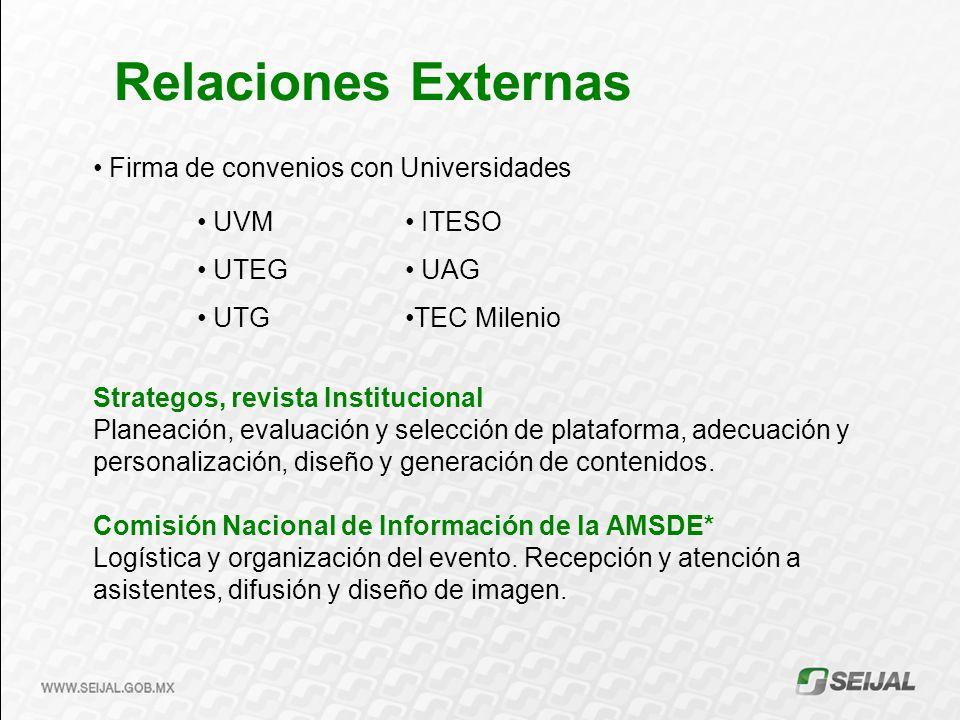 Relaciones Externas Firma de convenios con Universidades Strategos, revista Institucional Planeación, evaluación y selección de plataforma, adecuación y personalización, diseño y generación de contenidos.