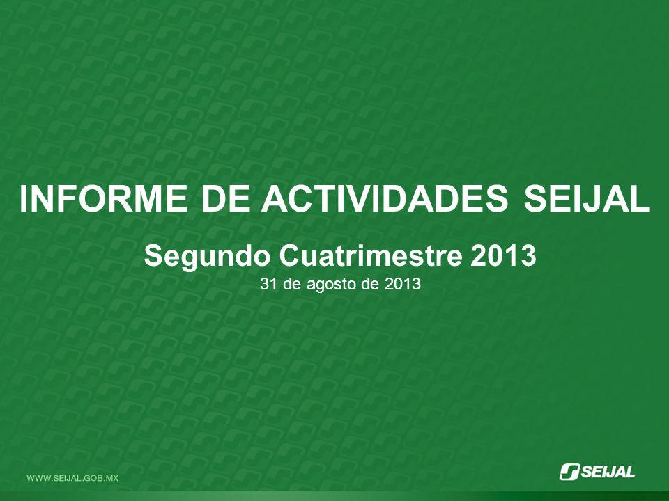 INFORME DE ACTIVIDADES SEIJAL Segundo Cuatrimestre 2013 31 de agosto de 2013