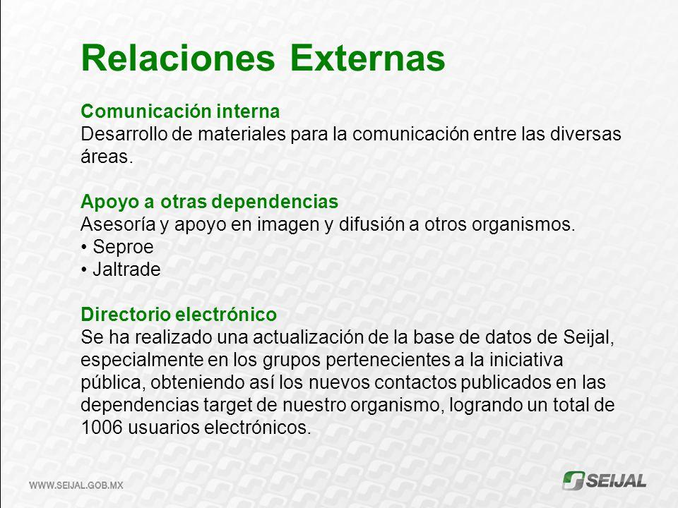 Comunicación interna Desarrollo de materiales para la comunicación entre las diversas áreas. Apoyo a otras dependencias Asesoría y apoyo en imagen y d