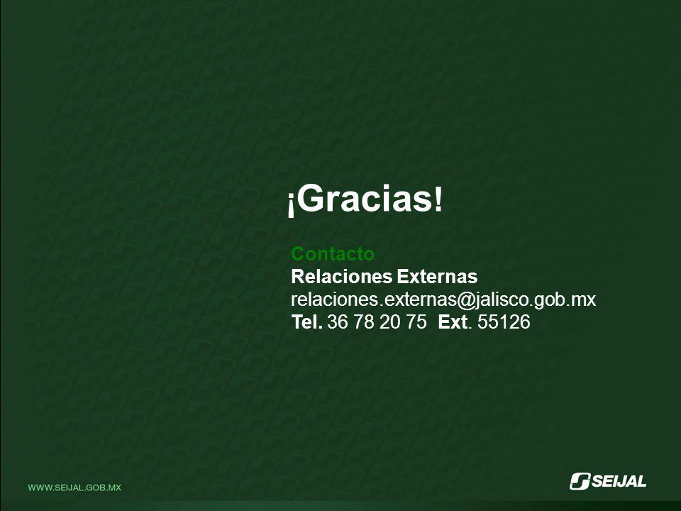 ¡ Gracias .Contacto Relaciones Externas relaciones.externas@jalisco.gob.mx Tel.