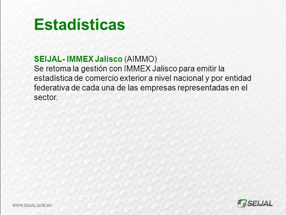 SEIJAL- IMMEX Jalisco (AIMMO) Se retoma la gestión con IMMEX Jalisco para emitir la estadística de comercio exterior a nivel nacional y por entidad fe