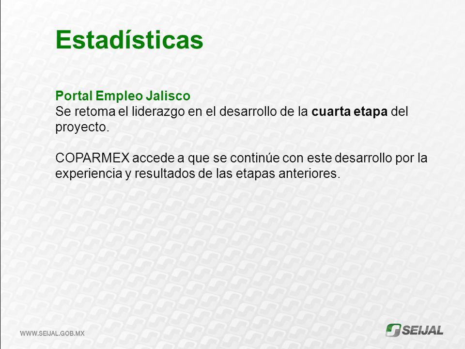 Portal Empleo Jalisco Se retoma el liderazgo en el desarrollo de la cuarta etapa del proyecto. COPARMEX accede a que se continúe con este desarrollo p