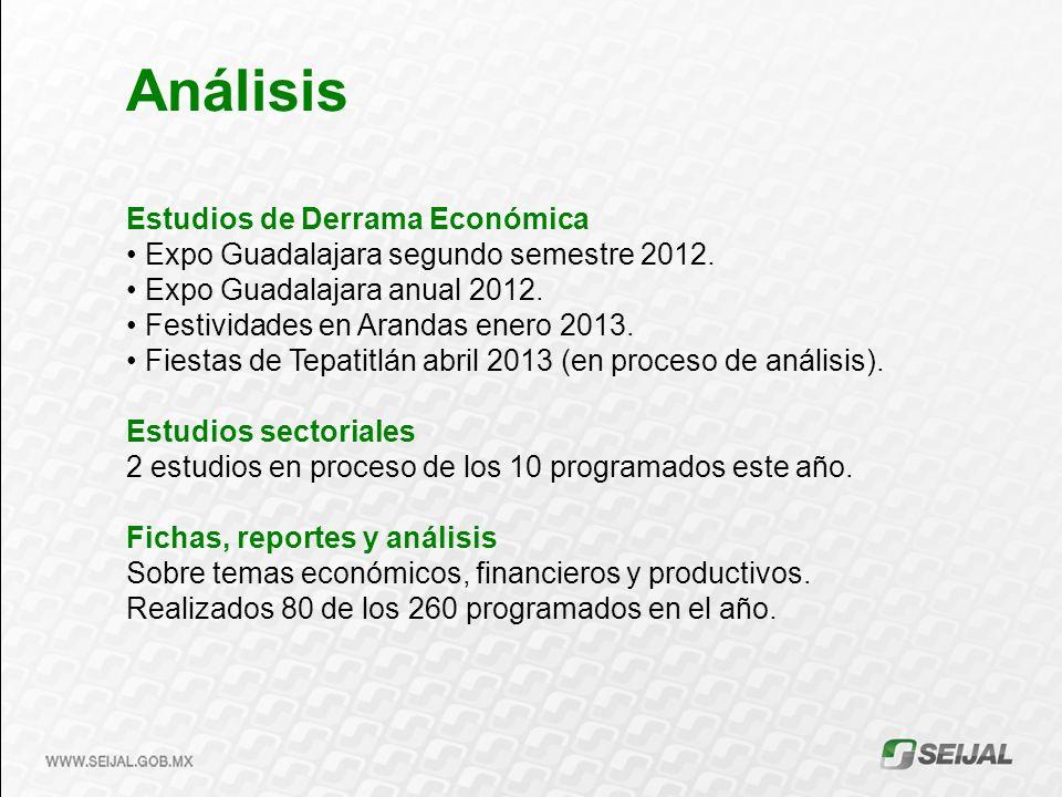 Estudios de Derrama Económica Expo Guadalajara segundo semestre 2012. Expo Guadalajara anual 2012. Festividades en Arandas enero 2013. Fiestas de Tepa