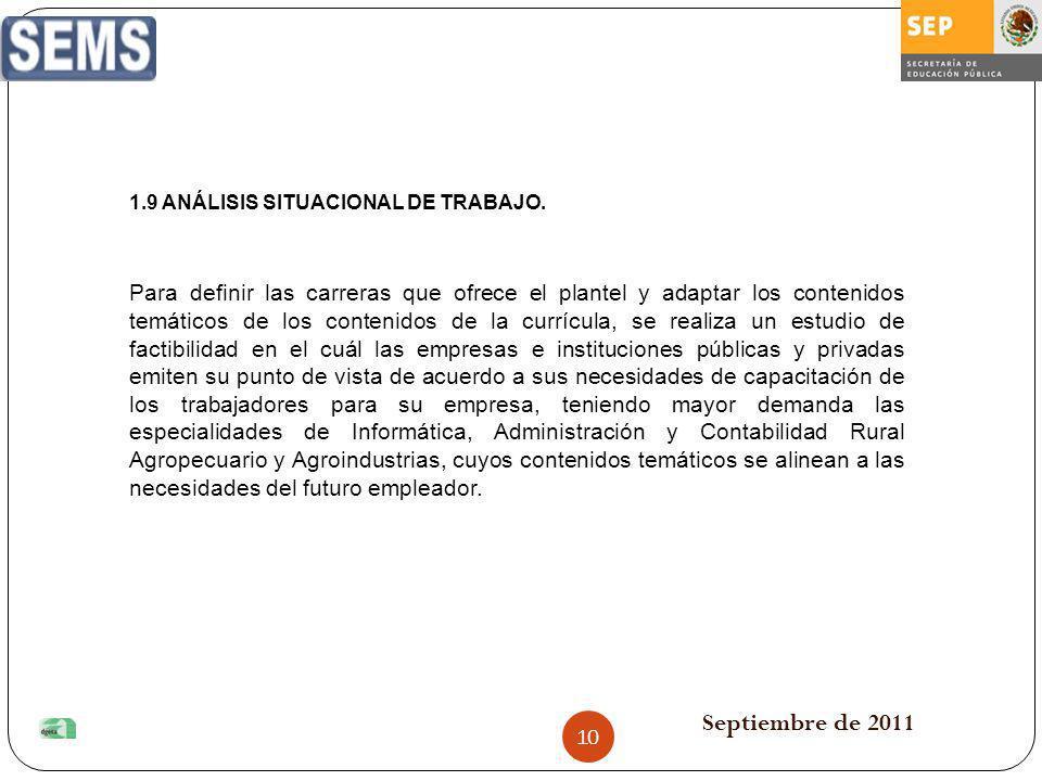Septiembre de 2011 1.9 ANÁLISIS SITUACIONAL DE TRABAJO. Para definir las carreras que ofrece el plantel y adaptar los contenidos temáticos de los cont