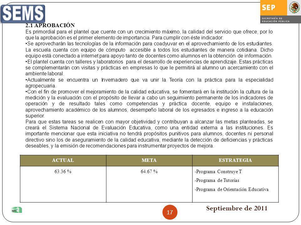 Septiembre de 2011 ACTUALMETAESTRATEGIA 63.36 %64.67 %-Programa Construye T -Programa de Tutorías -Programa de Orientación Educativa 2.1 APROBACIÓN Es