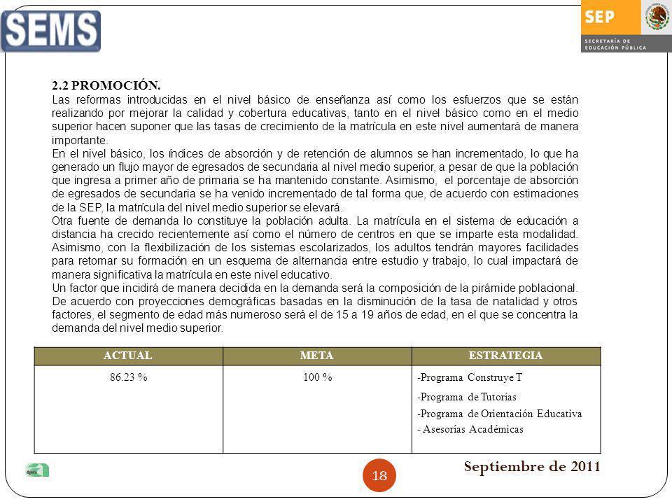 Septiembre de 2011 ACTUALMETAESTRATEGIA 86.23 %100 %-Programa Construye T -Programa de Tutorías -Programa de Orientación Educativa - Asesorías Académi
