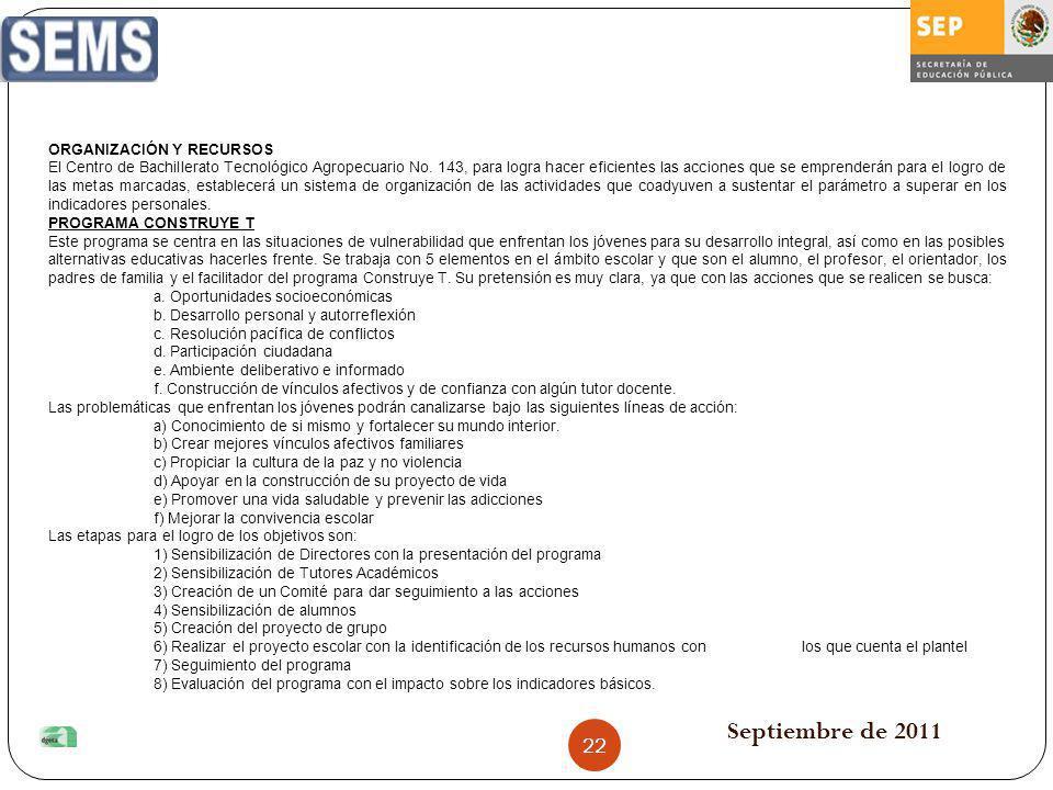 Septiembre de 2011 ORGANIZACIÓN Y RECURSOS El Centro de Bachillerato Tecnológico Agropecuario No. 143, para logra hacer eficientes las acciones que se