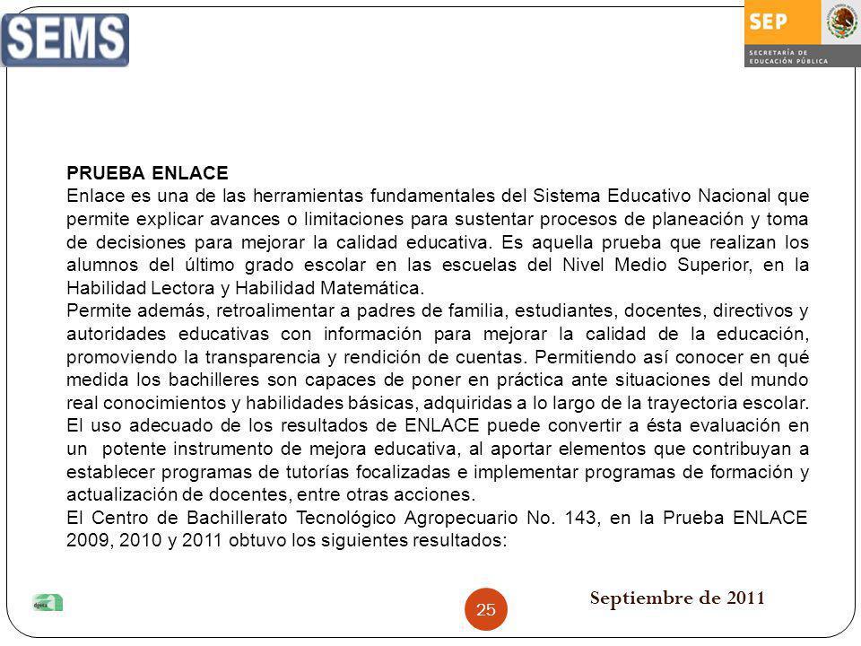 Septiembre de 2011 PRUEBA ENLACE Enlace es una de las herramientas fundamentales del Sistema Educativo Nacional que permite explicar avances o limitac