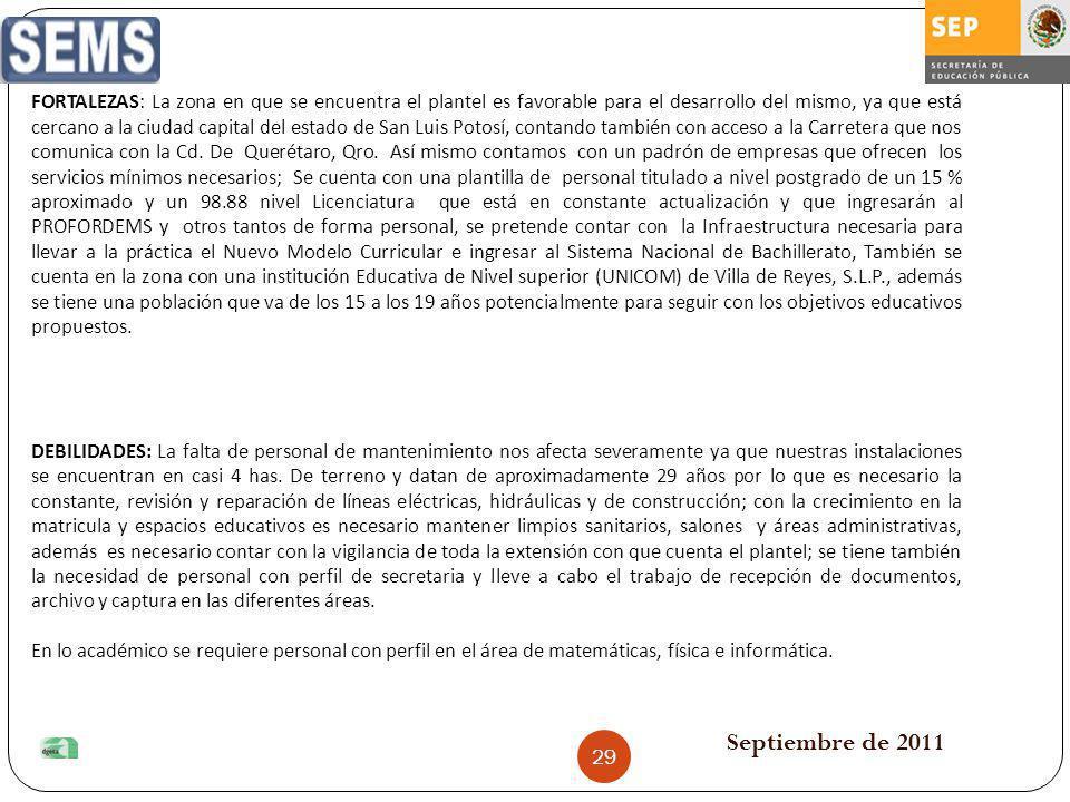 Septiembre de 2011 FORTALEZAS: La zona en que se encuentra el plantel es favorable para el desarrollo del mismo, ya que está cercano a la ciudad capit