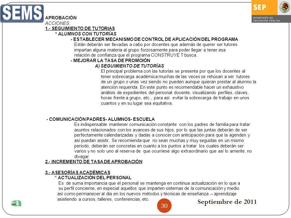 Septiembre de 2011 30 APROBACIÓN ACCIONES: 1.- SEGUIMIENTO DE TUTORIAS * ALUMNOS CON TUTORÍAS - ESTABLECER MECANISMO DE CONTROL DE APLICACIÓN DEL PROG