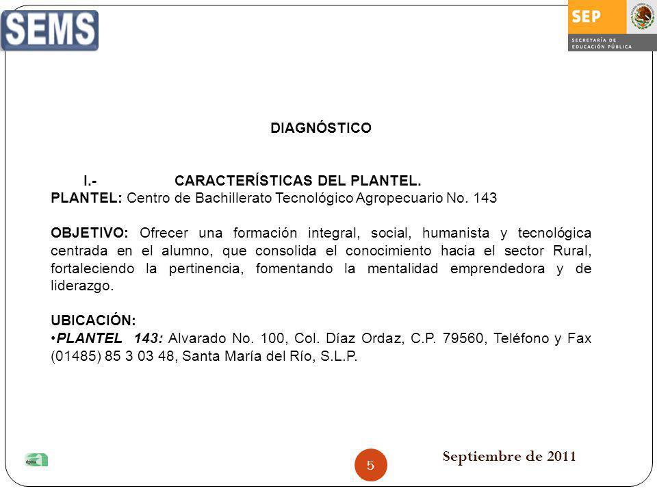 Septiembre de 2011 DIAGNÓSTICO I.- CARACTERÍSTICAS DEL PLANTEL. PLANTEL: Centro de Bachillerato Tecnológico Agropecuario No. 143 OBJETIVO: Ofrecer una