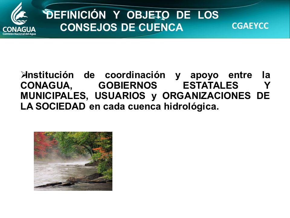 CGAEYCC DEFINICIÓN Y OBJETO DE LOS CONSEJOS DE CUENCA Institución de coordinación y apoyo entre la CONAGUA, GOBIERNOS ESTATALES Y MUNICIPALES, USUARIOS y ORGANIZACIONES DE LA SOCIEDAD en cada cuenca hidrológica.