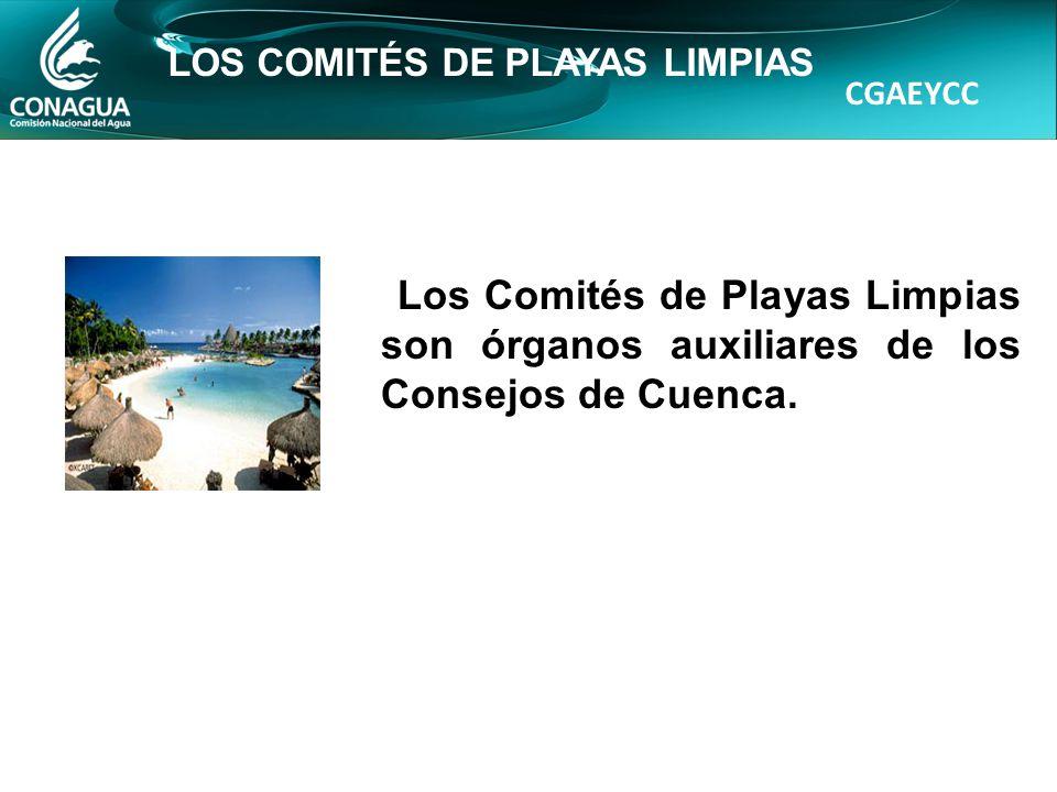 CGAEYCC LOS COMITÉS DE PLAYAS LIMPIAS Los Comités de Playas Limpias son órganos auxiliares de los Consejos de Cuenca.