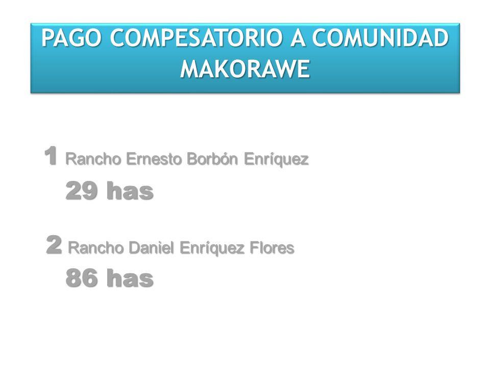 PAGO COMPESATORIO A COMUNIDAD MAKORAWE MAKORAWE 1 Rancho Ernesto Borbón Enríquez 29 has 2 Rancho Daniel Enríquez Flores 86 has