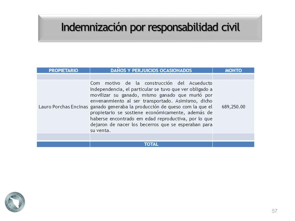 Indemnización por responsabilidad civil 57 PROPIETARIODAÑOS Y PERJUICIOS OCASIONADOSMONTO Lauro Porchas Encinas Com motivo de la construcción del Acue