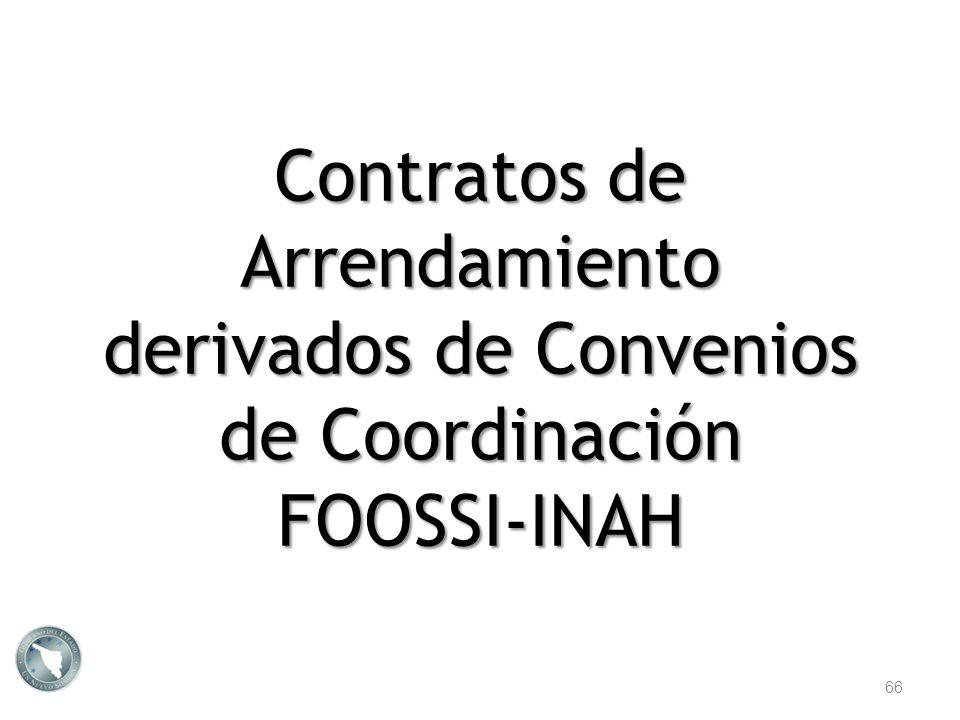 Contratos de Arrendamiento derivados de Convenios de Coordinación FOOSSI-INAH 66