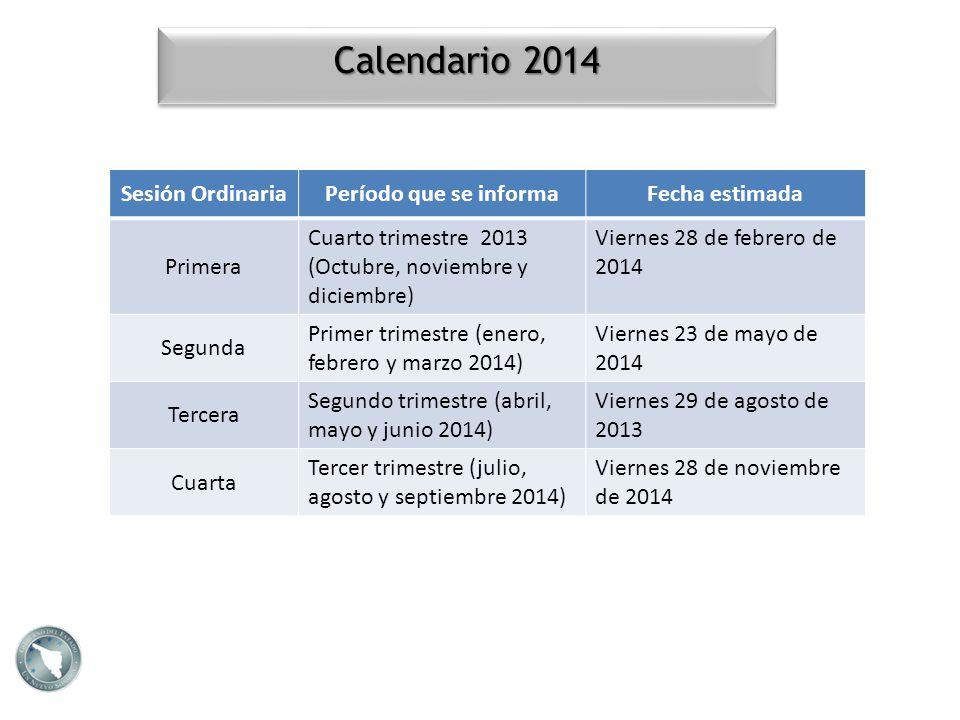 Calendario 2014 Sesión OrdinariaPeríodo que se informaFecha estimada Primera Cuarto trimestre 2013 (Octubre, noviembre y diciembre) Viernes 28 de febr