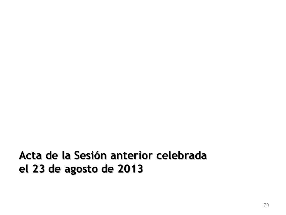 Acta de la Sesión anterior celebrada el 23 de agosto de 2013 70