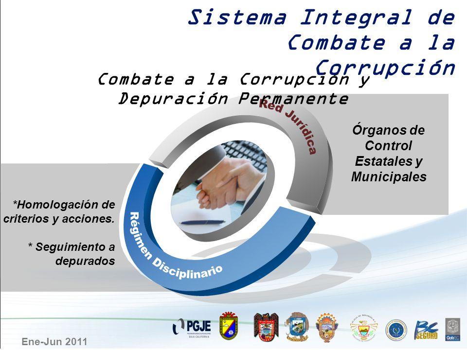 Ene-Jun 2011 *Homologación de criterios y acciones. * Seguimiento a depurados Órganos de Control Estatales y Municipales Combate a la Corrupción y Dep