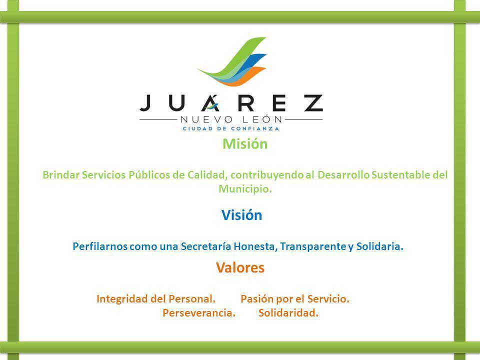 Misión Brindar Servicios Públicos de Calidad, contribuyendo al Desarrollo Sustentable del Municipio. Visión Perfilarnos como una Secretaría Honesta, T