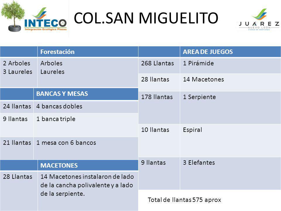 COL.SAN MIGUELITO Forestación 2 Arboles 3 Laureles Arboles Laureles AREA DE JUEGOS 268 Llantas1 Pirámide 28 llantas14 Macetones 178 llantas1 Serpiente