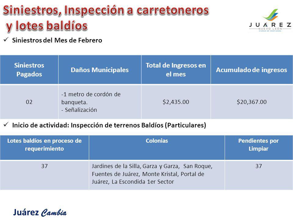 Siniestros Pagados Daños Municipales Total de Ingresos en el mes Acumulado de ingresos 02 -1 metro de cordón de banqueta. - Señalización $2,435.00$20,