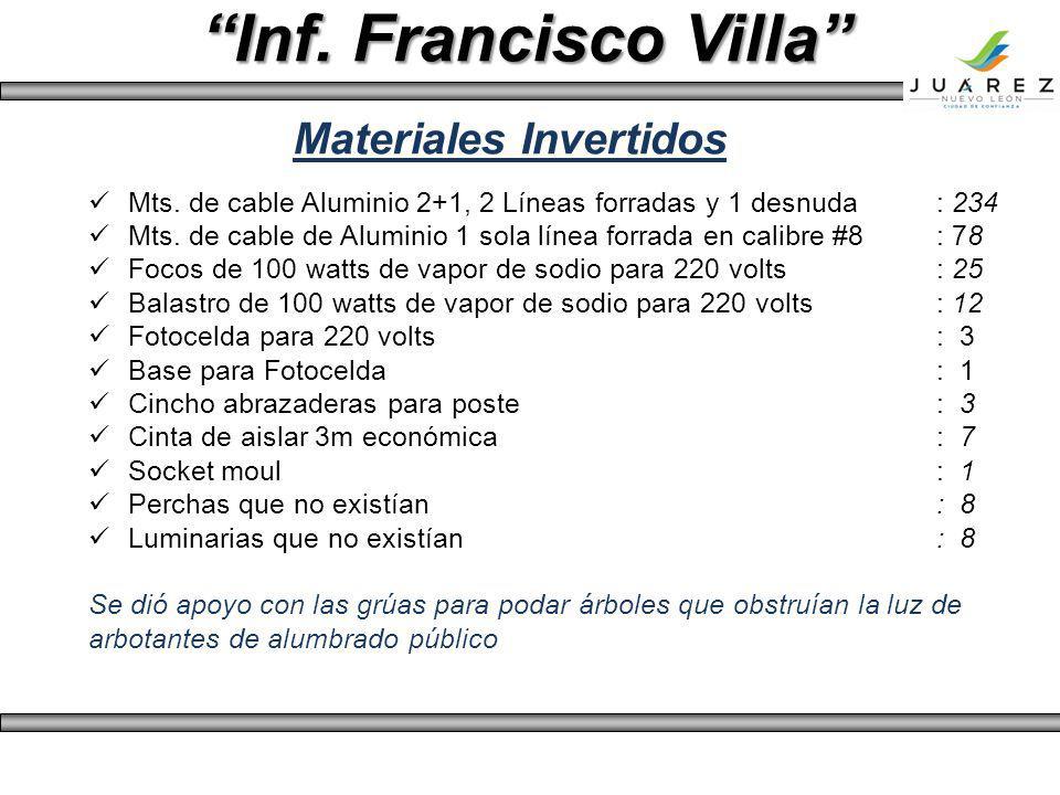 Inf. Francisco Villa Mts. de cable Aluminio 2+1, 2 Líneas forradas y 1 desnuda: 234 Mts. de cable de Aluminio 1 sola línea forrada en calibre #8: 78 F