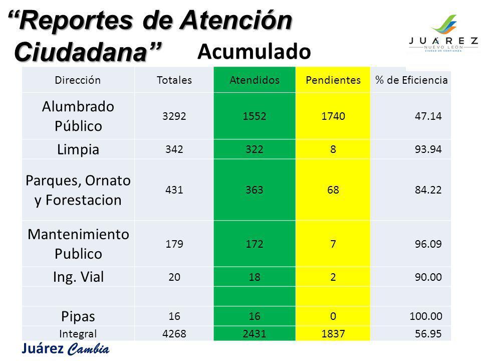 DirecciónTotalesAtendidosPendientes % de Eficiencia Alumbrado Público 329215521740 47.14 Limpia 3423228 93.94 Parques, Ornato y Forestacion 43136368 8