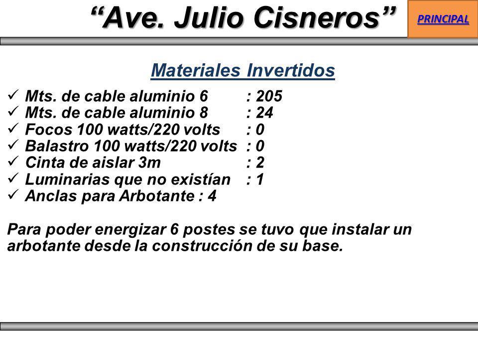 Mts. de cable aluminio 6: 205 Mts. de cable aluminio 8: 24 Focos 100 watts/220 volts: 0 Balastro 100 watts/220 volts: 0 Cinta de aislar 3m : 2 Luminar