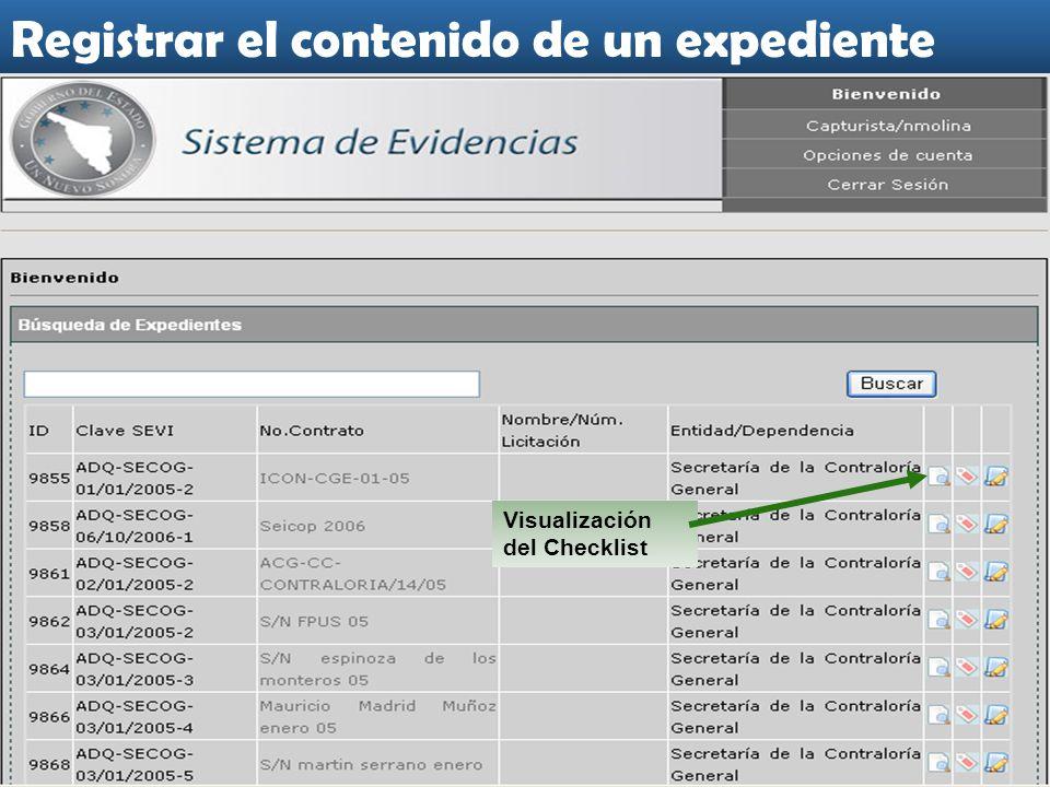 Visualización del Checklist Registrar el contenido de un expediente