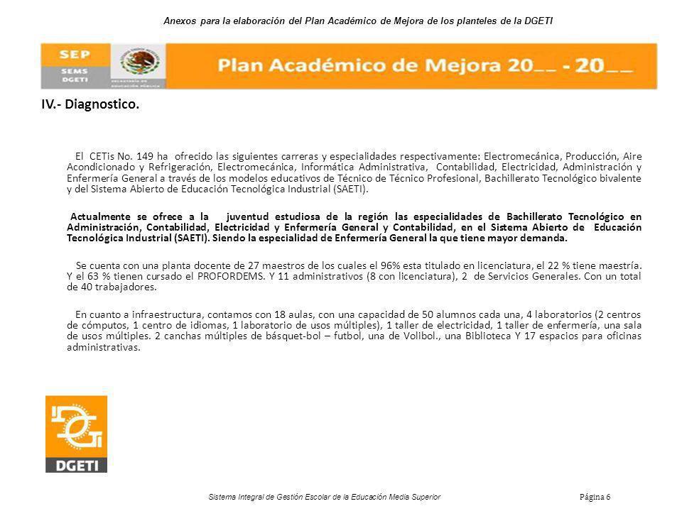 Anexos para la elaboración del Plan Académico de Mejora de los planteles de la DGETI Sistema Integral de Gestión Escolar de la Educación Media Superior Página 6 IV.- Diagnostico.