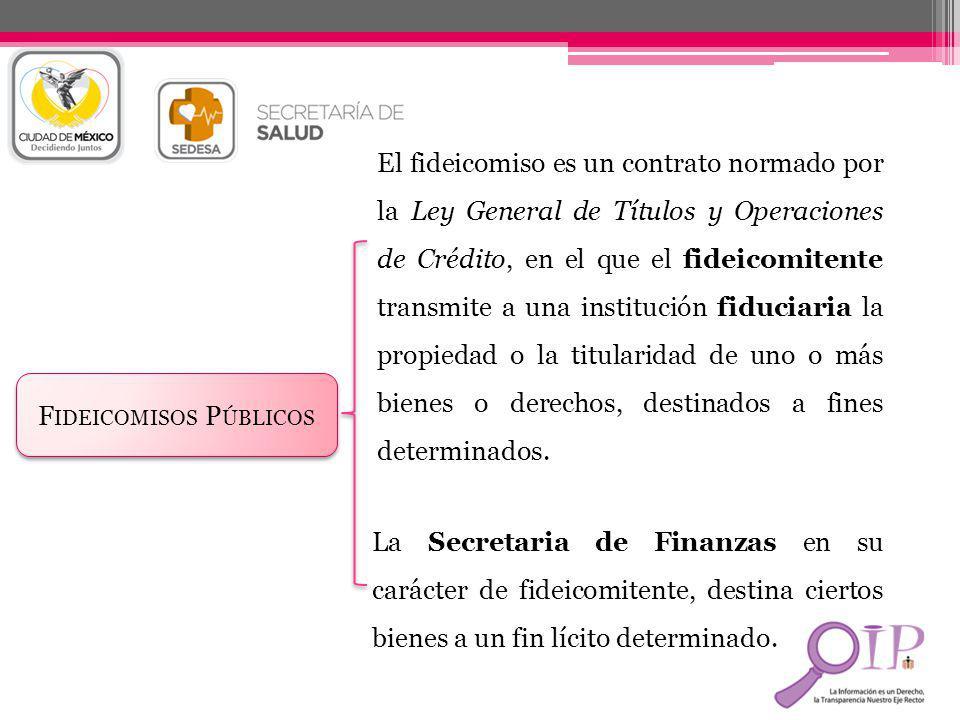 F IDEICOMISOS P ÚBLICOS El fideicomiso es un contrato normado por la Ley General de Títulos y Operaciones de Crédito, en el que el fideicomitente tran