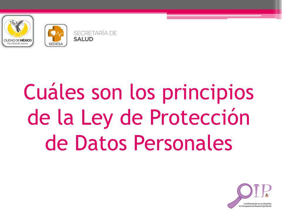 Cuáles son los principios de la Ley de Protección de Datos Personales