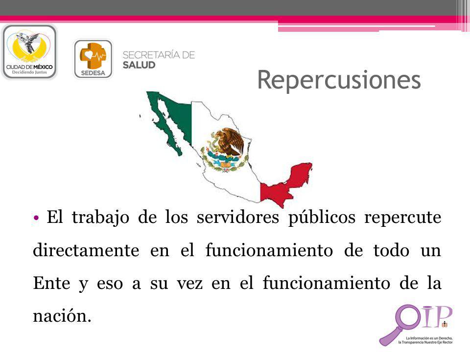 Repercusiones El trabajo de los servidores públicos repercute directamente en el funcionamiento de todo un Ente y eso a su vez en el funcionamiento de