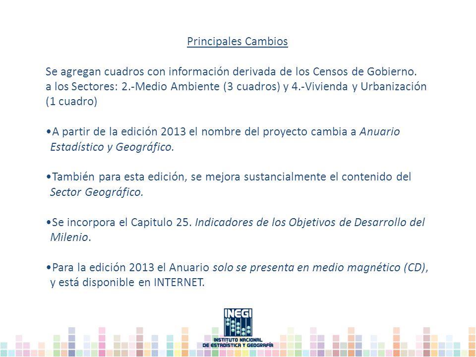 Principales Cambios Se agregan cuadros con información derivada de los Censos de Gobierno. a los Sectores: 2.-Medio Ambiente (3 cuadros) y 4.-Vivienda