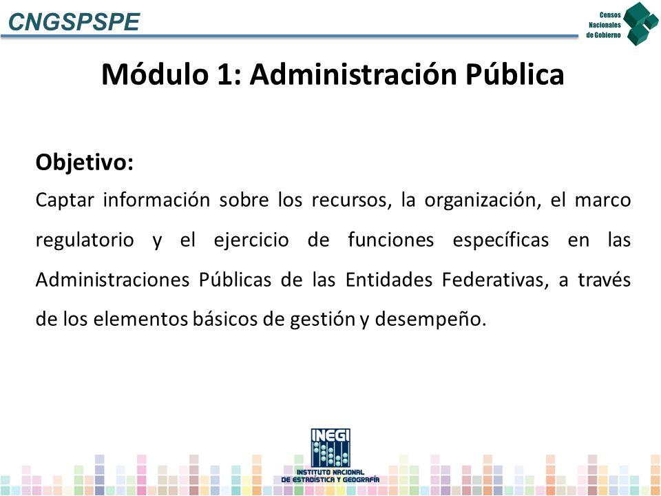 Módulo 1: Administración Pública Objetivo: Captar información sobre los recursos, la organización, el marco regulatorio y el ejercicio de funciones es