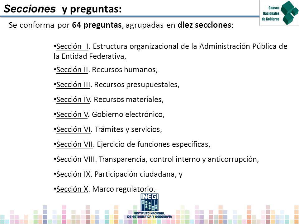 Secciones y preguntas: Se conforma por 64 preguntas, agrupadas en diez secciones: Sección I. Estructura organizacional de la Administración Pública de