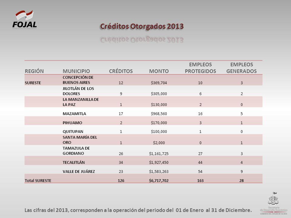 REGIÓNMUNICIPIOCRÉDITOSMONTO EMPLEOS PROTEGIDOS EMPLEOS GENERADOS SURESTE CONCEPCIÓN DE BUENOS AIRES12$369,704103 JILOTLÁN DE LOS DOLORES9$305,00062 L