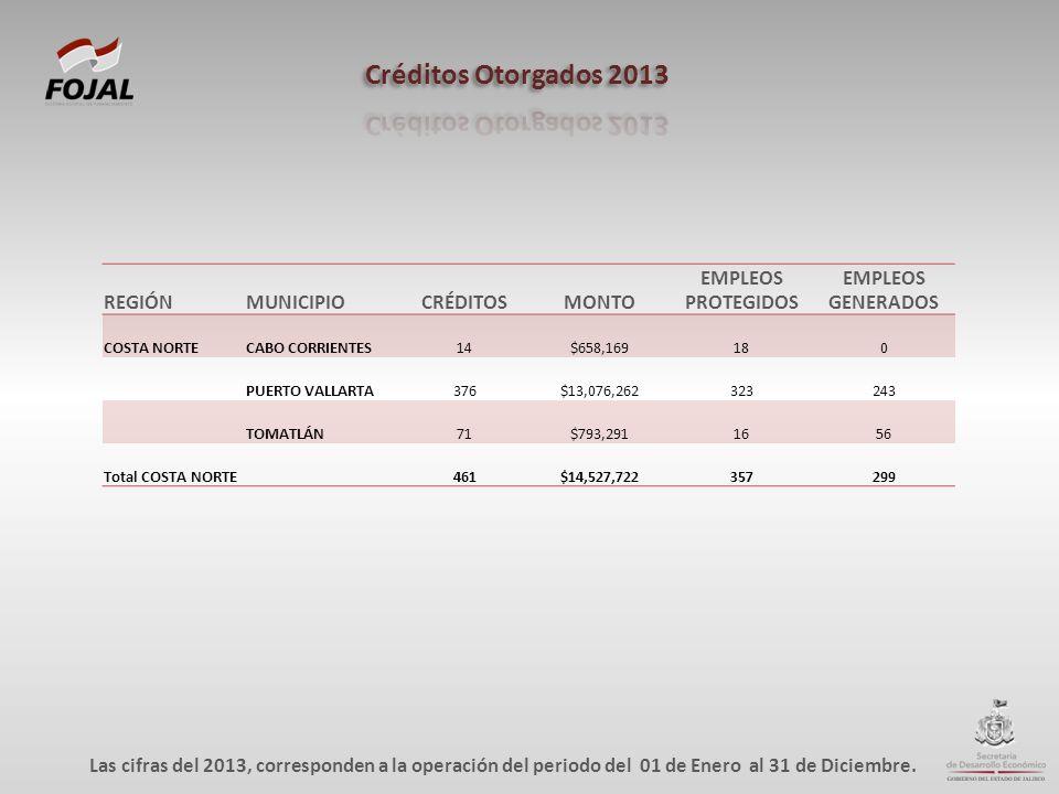 REGIÓNMUNICIPIOCRÉDITOSMONTO EMPLEOS PROTEGIDOS EMPLEOS GENERADOS COSTA NORTECABO CORRIENTES14$658,169180 PUERTO VALLARTA376$13,076,262323243 TOMATLÁN71$793,2911656 Total COSTA NORTE 461$14,527,722357299 Las cifras del 2013, corresponden a la operación del periodo del 01 de Enero al 31 de Diciembre.