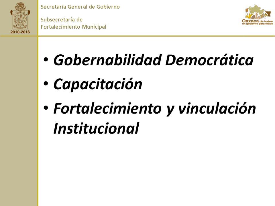 Gobernabilidad Democrática Capacitación Fortalecimiento y vinculación Institucional Secretaría General de Gobierno Subsecretaría de Fortalecimiento Municipal